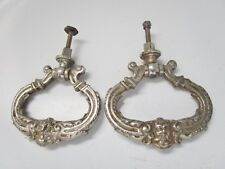 Antique Pair of Handles Pendants Meuble-Commode-Tiroirs-En Metal Polished Chrome