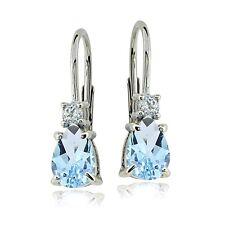 Sterling Silver Blue Topaz & White Topaz Teardrop Leverback Earrings
