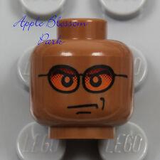 NEW Lego Dark FLESH MINIFIG HEAD - Light Reddish Brown Sun Glasses Medium Smile