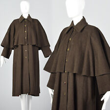 Yves Saint Laurent Rive Gauche All Weather Loose Wool Inverness Cape Coat 1970s