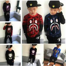 1 Set Kids Boy Girl Camo Shark Baby Milo Monkey Long Sleeve Shirt + Long Pants