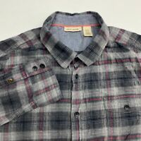 DKNY Jeans Button Up Flannel Shirt Men's Size 2XL XXL Long Sleeve Gray Plaid