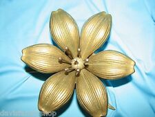 Solid Brass Flower Ashtray Floral Removable Petals Hollywood Regency Decor