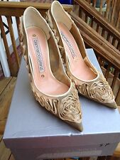 Gianmarco Lorenzi Beige Ribbon Flowers, Mesh Pumps, Wedding 37, fits 37.5-8