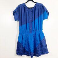 Marc Jacobs Size S Womens Blue Colorblock Short Sleeved Silk Blouson Dress