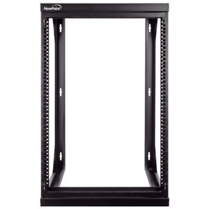 """15U Wall Mount IT Open Frame 19"""" Network Rack with Swing Out Hinged Gate Black"""