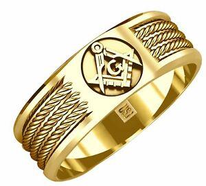 US Jewels Men's 6mm Blue Lodge 14K Gold Master Mason Masonic Ring Band