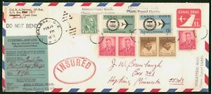 Mayfairstamps Canal Zone 1972 Insured Uprated Customs Stationery to Minnesota Co