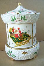 Lenox Holiday Musical Carousel Plays We Wish You a Merry Christmas. Santa Sleigh