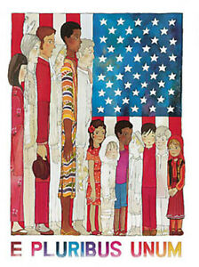 """E Pluribus Unum.  Anca Haritorn American flag art print. 9x11"""". new"""