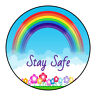 Thank You Stay Safe Be Well Stickers Labels Rainbow Sweet Cones Gifts Seals