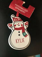 "SNOWMAN SHAPED PERSONALIZED NAME ORNAMENT ""Kylie"" FROM GANZ NEW"