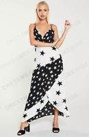 River Island Black & White Star Print Maxi Midi Slip Wrap Dess