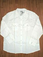 $79 NWT Lucky Brand Men's White French Linen Western Big & Tall Shirt - sz 3XL