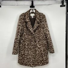 Bar Iii Womens Jacket Coat Brown Leopard Print Double Breasted Lined Notch L