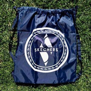 Skechers Drawstring Cinch Backpack Straps Reusable Tote Blue Shoe Dust Bag