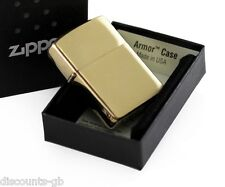 Zippo Armor Windproof Lighter - Brushed Brass - 168 - Gift Box