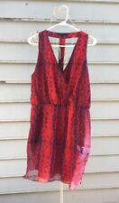 ARYN K Red & Blue Silk Snakeskin Print Silk Dress Size LARGE