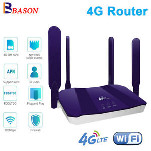 Unlocked 300Mbps LTE Modem 4G Router SIM Mobile Wireless WiFi Hotspot RJ45 Port