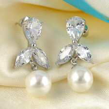 Beautiful Pearl & Crystal Glass Bead Earrings  -Very Sparkly