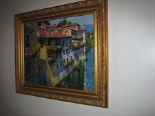 Framed enhanced brushstrokes painting 'Bassano del Grappa' by H. Behrens