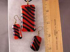 Red Tiger Stripes Glass Pendant and Earrings GA07 Inspired by Tony the Tiger!