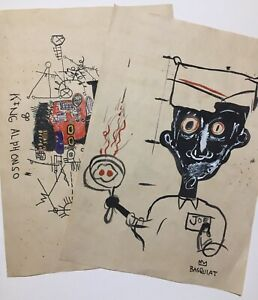 Lot of two drawings carved by Jean Michell Basquiat, sealed