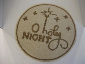 O Holy Night Round Cream & Gold Beaded Holiday Plate Charger 14 in. Round NWWT