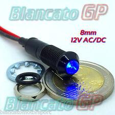 SPIA LED BLU 12V DC NERA TONDA 8mm IP67 auto moto camper nautica indicator light