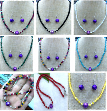 Natural 10-12mm Purple Baroque Pearl Faceted 4mm Gemstone Necklace + earrings