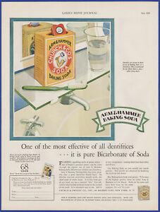 Vintage 1929 ARM & HAMMER Baking Soda Dental Hygiene Ephemera 20's Print Ad