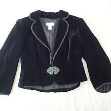 loft ann taylor,BLAZER,Jacket SZ 4 VELOUR BLACK BOLERO SILK BLEND SI