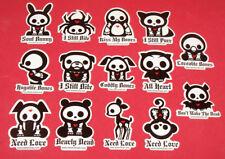 Set of 14 SKELANIMALS Cute Decal Lot Goth Stickers VTG NOS 1998 Punk Bunny Heart