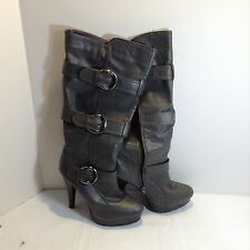 "Gray Tall 18.5"" Revenge Over the Knee Boot Size 9 & 5"" heel"