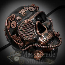 Mens Full Face Steampunk Skull Theater Costume Masquerade Ball Mask [Copper]