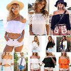 Sexy Womens Off The Shoulder Blouse T-shirts Summer Tops Boho Beachwear Crop Top