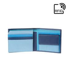 DuDu Portafoglio in pelle piccolo RFID da uomo Blu Multicolore con portamonete