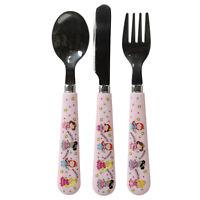 3pc Little Stars Princess Girls Kids Cutlery Set Plastic Spoon Fork Knife Gift
