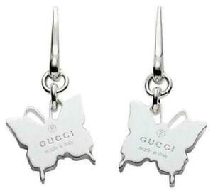 GUCCI Butterfly Logos Butterfly Drop Dangle Hook Earrings Silver 925 New