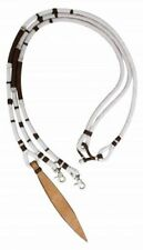 Showman 8' WHITE Braided Nylon Romal Reins w/ Leather Poppers!! NEW HORSE TACK!!