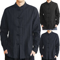 Chinese Style Men Shirt Kung Fu Traditional 100%Cotton Tops Formal Smart Shirts