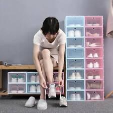 12 Pack Shoe Box Storage Case Clear Organizer Stackable Foldable Plastic Boxes L