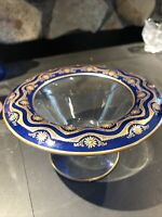 ANTIQUE BOHEMIAN MOSER? GOLD GILT ART GLASS COMPOTE DISH Unmarked