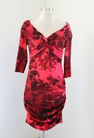 NWT Boston Proper Muse Red Floral Off Shoulder Ruched Bodycon Cocktail Dress 8