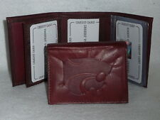 KANSAS STATE WILDCATS    Leather TriFold Wallet     NEW     dkb  z+
