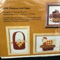 Vtg CHICKEN & EGGS Creative Circle Crewel Embroidery Kit 2 Pictures 5 x 7 Wool