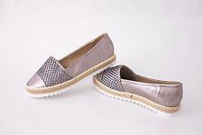 Mokassin Sneaker Damen Schuhe Gr. 38 Grau Glanz Ballerina Halbschuhe Espadrilles