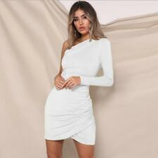 One Shoulder Long Sleeve dress Solid Color Front Cross Fold Bodycon dress S-XL