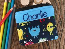Handmade personalised kids childrens Monster Alien purse wallet for boy or girl