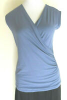 $49.50 Ann Taylor Womens Size Small Blue Sleeveless Blouse Crossover Bodice NWT